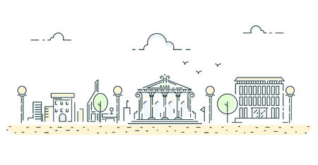 Line style urban road and buildings on empty street vector illustration horizontal website banner.