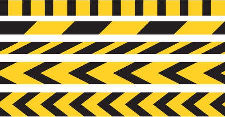 Vettore del bordo del nastro di attenzione. Segnale di avviso di pericolo strisce gialle e nere.