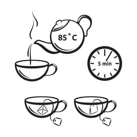 Tea preparation vector icon for tea packaging. Cup and teapot symbols.