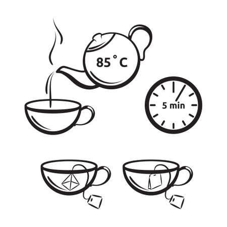 Thee voorbereiding vector pictogram voor thee verpakking. Kop en theepot symbolen.