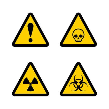 Caution triangle sign vector set. Black and yellow warning notice symbol skull, danger, biohazard and radiation. Vector Illustration