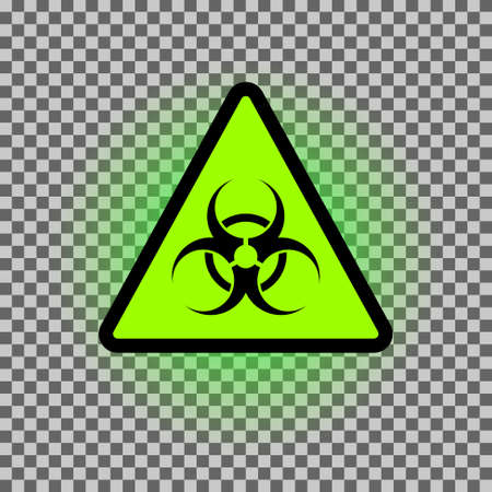 Biohazard dangeer vector symbol with green glowing. Triangle biological caution sign. Illustration