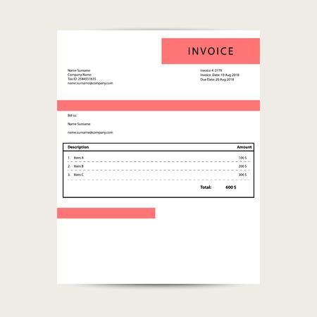 Minimal invoice template vector. Simple bill document sample design. Ilustração
