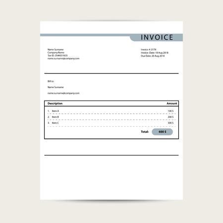 Minimal invoice template vector. Simple bill finance document sample design.