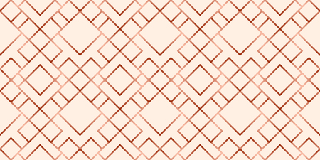 Abstract grid rose gold geometric seamless pattern. Copper color geometry vector repeatable background.