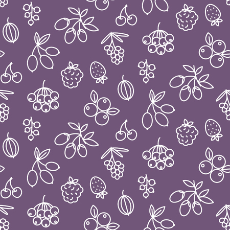 Superfood berries icon pattern rosehip, strawberry, acai, raspberry, juniperus, cranberry, sea buckthorn, cherry, blueberry, goji blackberry and currant. Berry outline icons on purple background Иллюстрация