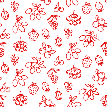 Berries icon pattern superfood rosehip, strawberry, acai, raspberry, juniperus, cranberry, sea buckthorn, cherry, blueberry, goji blackberry and currant. Berry outline icons on white background