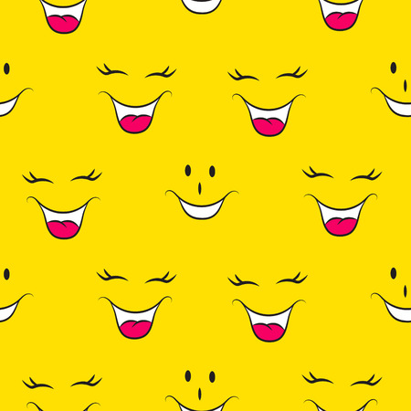 Lol pattern seamless funny faces yellow social media background. Humor smileys icons pattern.