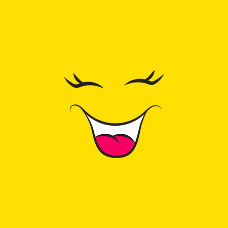 Funny smiley face icon on yellow background. Laughing emoji mood emotions expressions vector.
