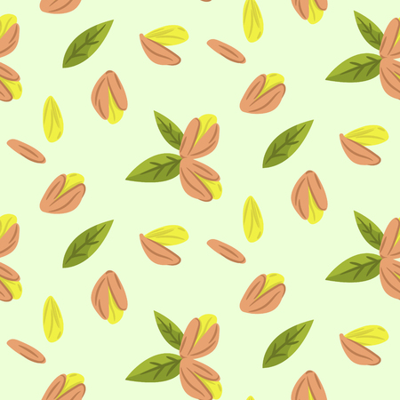 Pistachio nuts vector cartoon illustration seamless pattern texture. Raw food texture background.