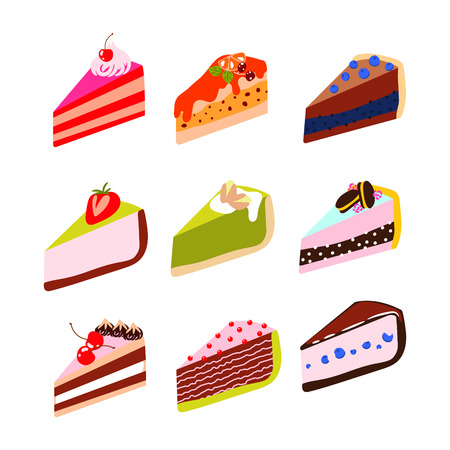 Cakes and cheesecakes vector cartoon icon set. Sweet dessert slices.