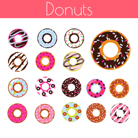 Glazed donuts with coconut shavings and chocolate vector cartoon icon set. Sweet dessert doughnuts.