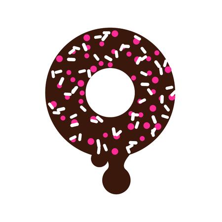 Chocolate donut vector cartoon icon illustration. Sweet dessert doughnut with coconut shavings.