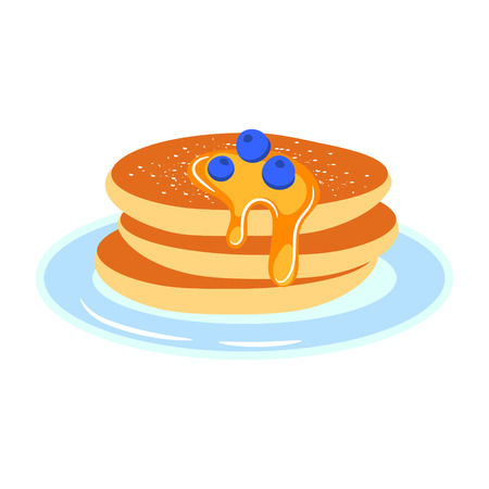 Pancakes with berries and honey syrup on a plate vector cartoon icon. Sweet breakfast.
