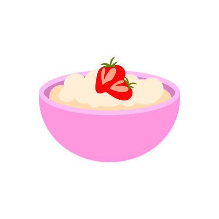 Porridge in a bowl with strawberry on top. Oatmeal for breakfast vector isolated object.