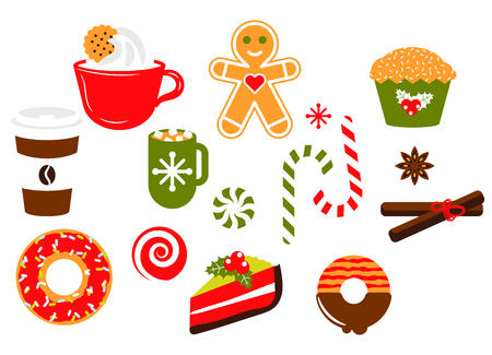 Christmas sweets vector illustration set. Coffee, cookies and ginger candy isolated object clipart. Stock Illustratie