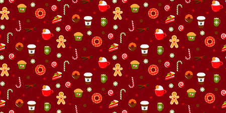 Christmas sweets candy vector seamless red pattern. Xmas background with coffee, cookies and ginger candy object clipart.