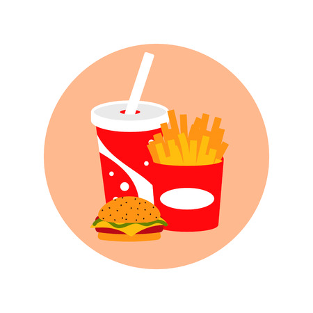 Fast food lunch meal vector set illustration cartoon style. Soda drink, burger and french fries icons.