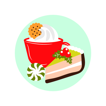 Xmas dessert icons. Hot drink and cake winter holiday meal illustration. Festive Christmas cozy breakfast.