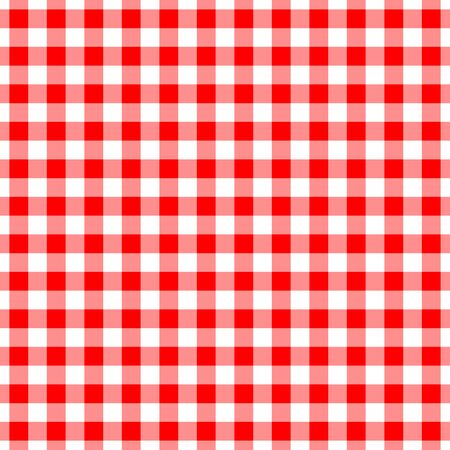 Gingham red seamless pattern. Checkered plaid design background for tablecloth textile print design. Vetores