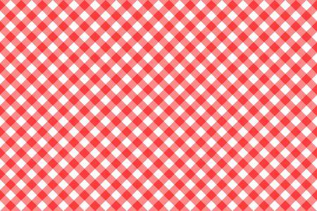 Gingham red checkered seamless pattern. Plaid repeat design background for tablecloth textile print design. Ilustração