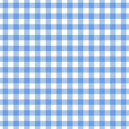 Checkered blue tablecloth seamless pattern. Gingham plaid design background for textile print design.