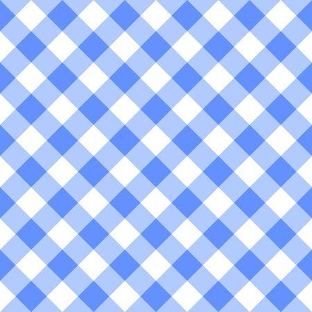 Checkered blue and white plaid seamless pattern. Gingham fabric design background for textile print. Ilustração