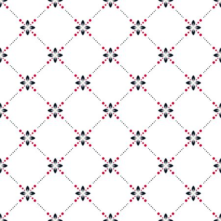 Simple abstract floral vector pattern tile. Geometric shape net repeat background.