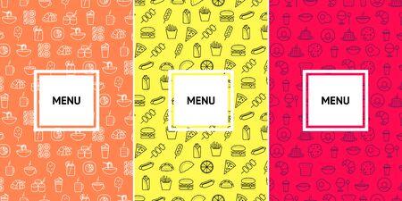 Fast food and cafe menu pattern design template. Food icons vector banner. Ilustração