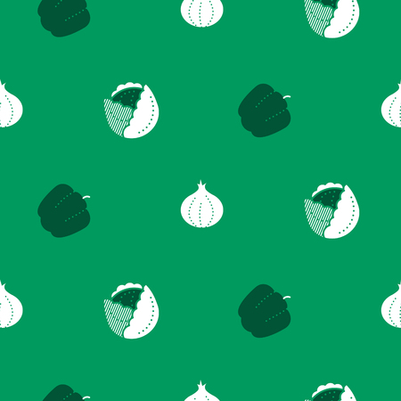 Vegetable icon seamless vector pattern. Outline icons food white background.