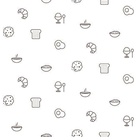 Breakfast line icons seamless vector pattern. Food outline repeat wrap white texture. Stock Illustratie
