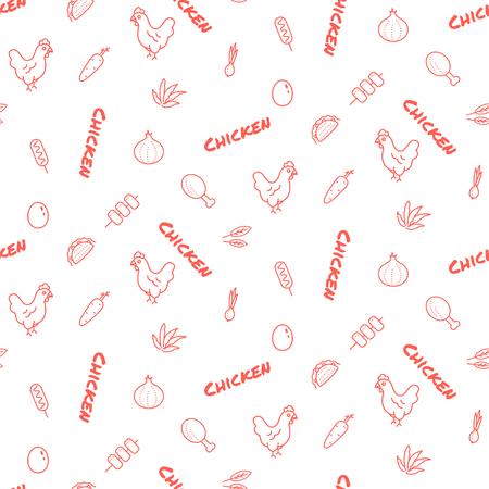 Chicken farm vector seamless pattern print red icons texture. Cute hens poultry packaging product design.