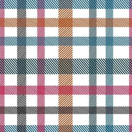 Striped tartan plaid style colorful seamless vector pattern. Dashed bold strokes blue red texture.