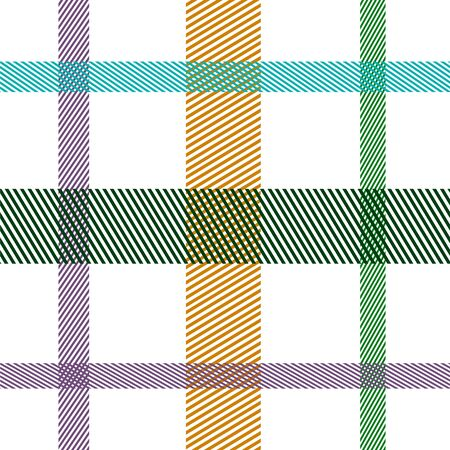Striped tartan plaid style colorful seamless vector pattern. Ilustração
