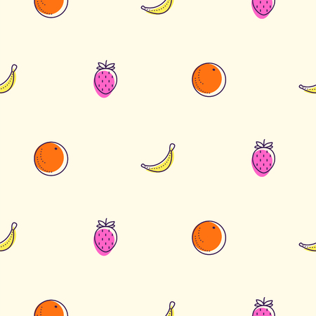 Fruits colored icons seamless vector pattern. Food outline repeat wrap white texture orange, banana and strawberry.