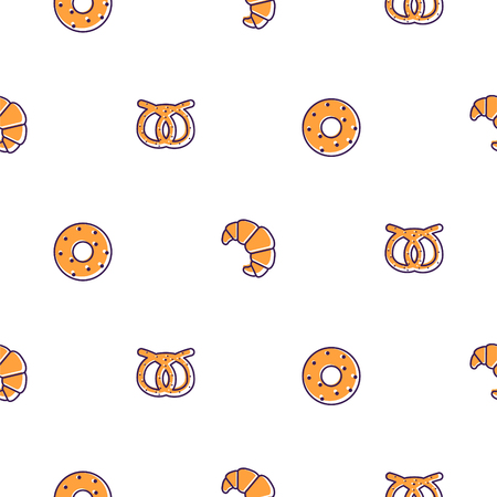 Bakery icons seamless vector pattern. Bakery shop branding background for banners, wrap paper and packaging. Donut, croissant and pretzel. Ilustração