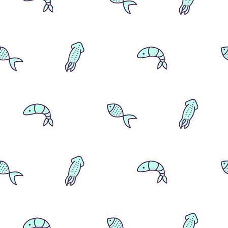 Seamless pattern with seafood colored line style. Fish and shrimps icon vector background for product packaging paper.