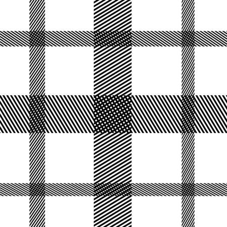 Striped black and white vertical horizontal seamless vector pattern. Ilustração