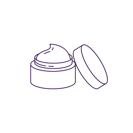 Cream bottle with open lid vector line icon. Beauty bottle with cap symbol.