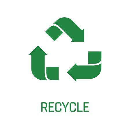 Recycle sign green arrows isolated on white background vector.