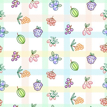 Berries seamless vector pattern with striped plaid. Food outline berry icons repeat wrap bright red texture.