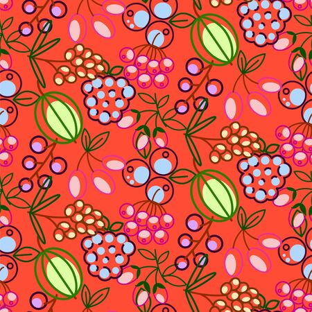 Berries seamless vector pattern. Food outline berry icons repeat wrap bright red texture.