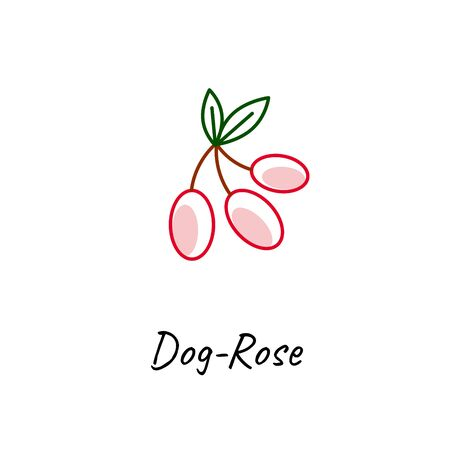 Red dog rose vector outline icon on white. Stock fotó - 131082020