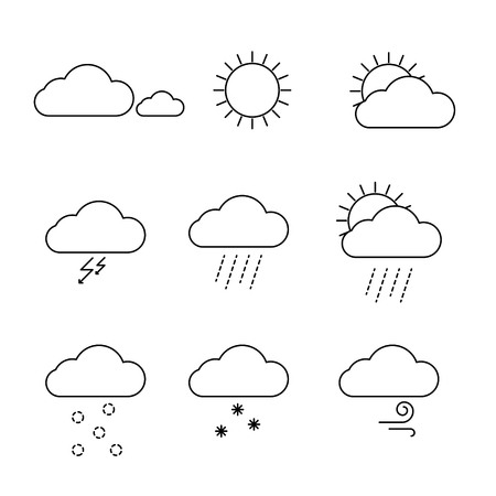 Weather icons set vector. Outline clouds, sun, snow, wind and rain symbols. Web and mobile elements icons.
