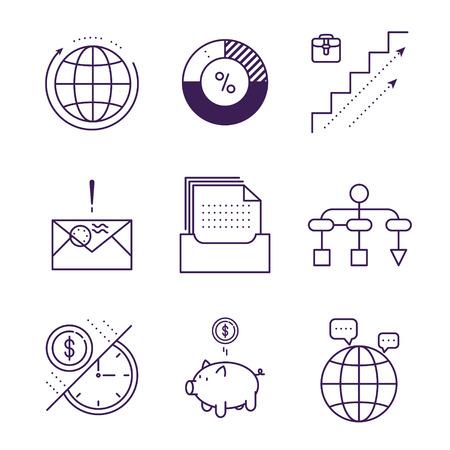 Money and analytics symbols object vector outline icons. Business data finance icon set. Ilustração