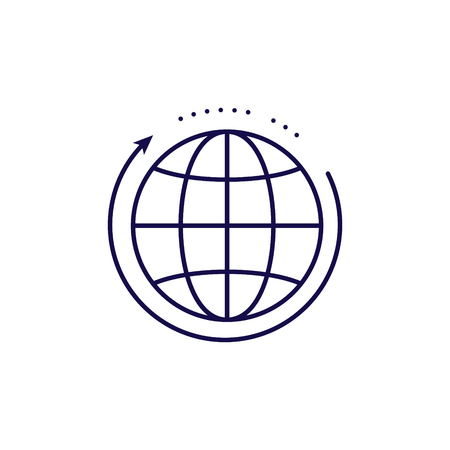 Global networking icon vector. Outline style globe icons.