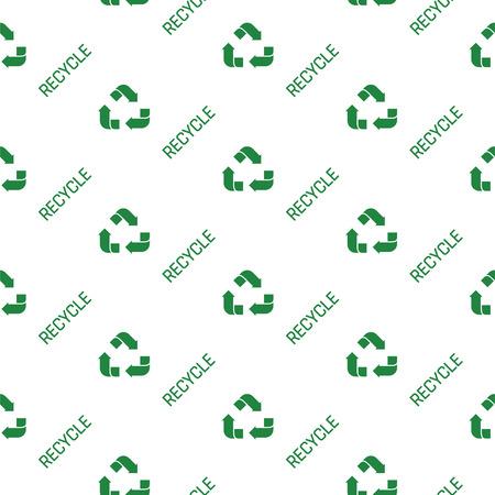 Recycled paper green symbol pattern. Seamless flat vector cartoon illustration. Recycle icon symbol texture. Ilustração