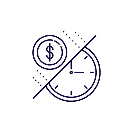 Time is money icon vector. Outline style coin and clock business icons.