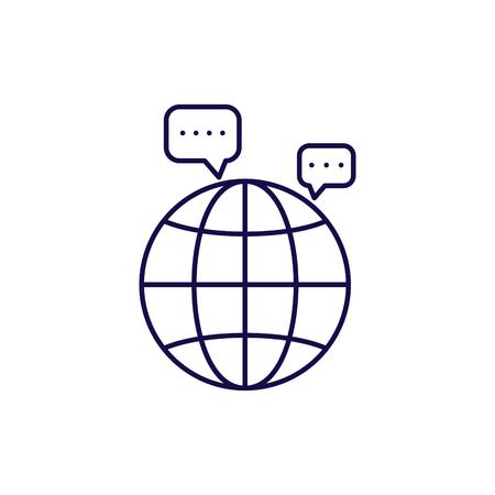 Communication icon vector. Outline style speech bubble and globe icons. Ilustração