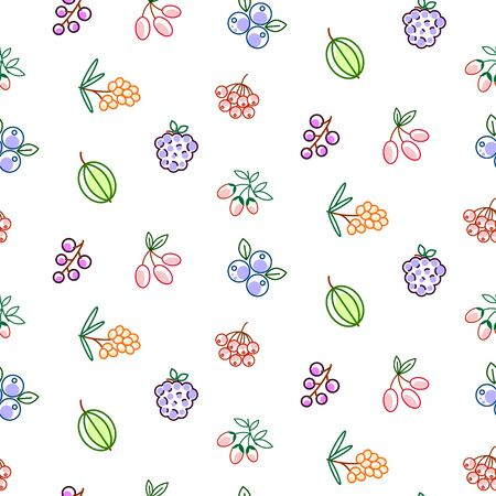 Berries seamless vector pattern. Food outline berry icons repeat wrap line style texture for kitchen textile print.